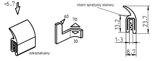 Uszczelka samozaciskowa 1-3 mm