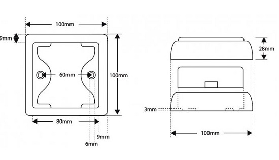 Diodowy kwadratowy kierunkowskaz 100x100 mm