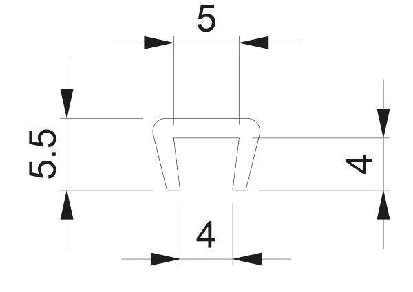 Uszczelka gumowa wciskana na krawędź 5 mm