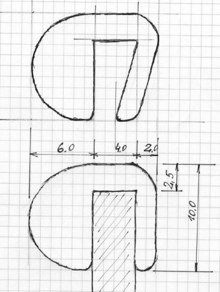 Uszczelka gumowa wciskana na krawędź 4 mm z odbojem